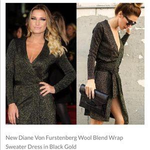 Diane von Furstenberg black with gold  wrap dress
